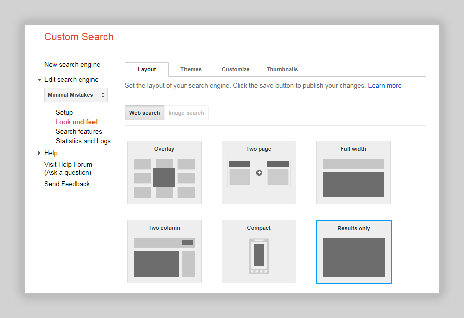 Google Custom Search Engine layout