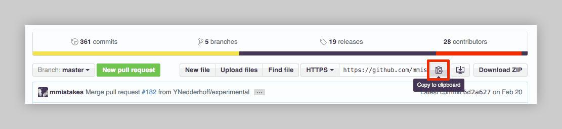 copy GitHub repo URL