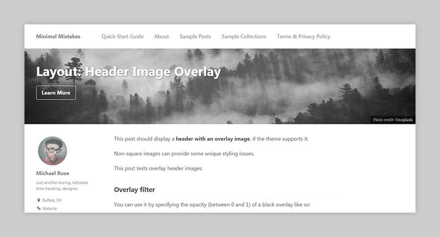 single layout header overlay example