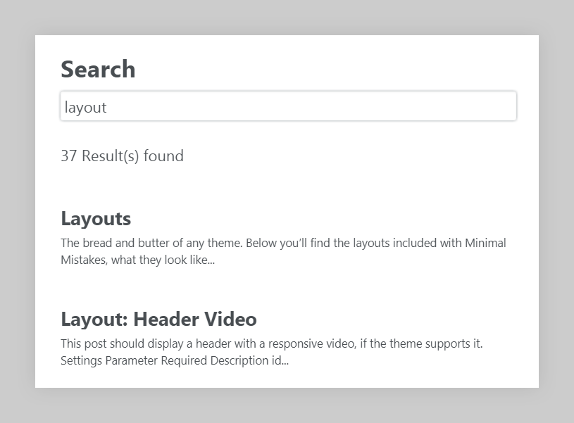 search page layout example